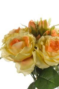 Bilde av Kunstig Rosebukett Gul 30cm med 6 roser